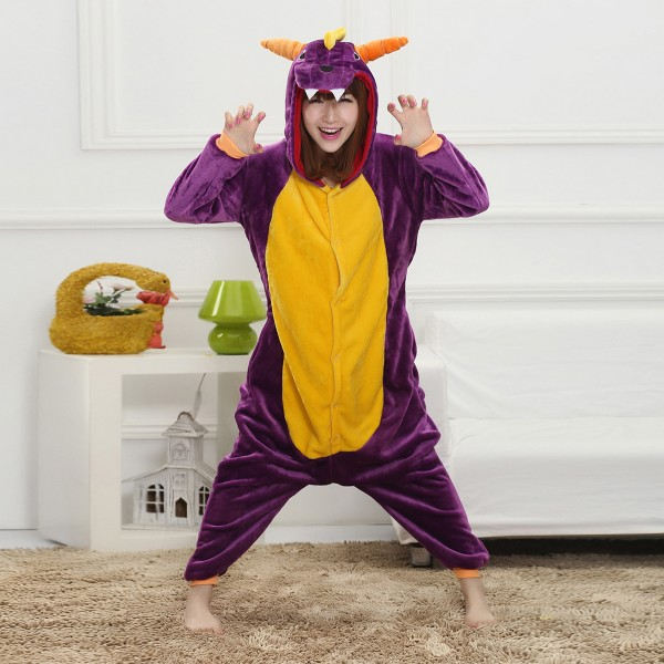 Purpel Dragon Onesie Animal Kigurumi Pajama Unisex Women & Men Halloween Party Costumes