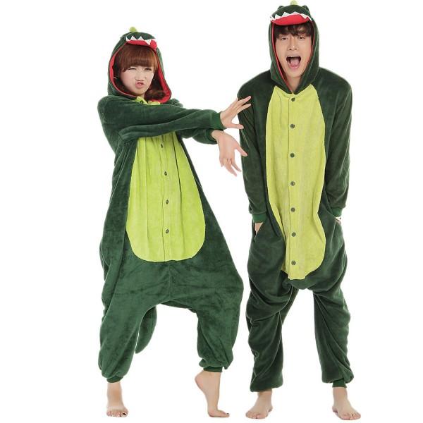 Green Dinosaur Onesie Animal Kigurumi Pajama Unisex Women & Men Halloween Party Costumes
