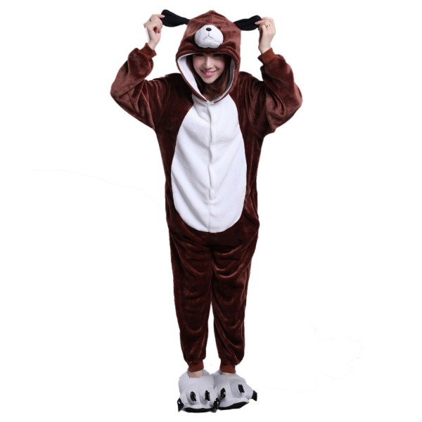 Brown Dog Onesie for Adult Animal Kigurumi Pajama Party Costumes