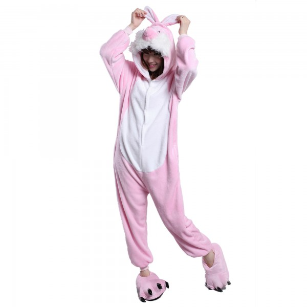 Pink Rabbit Onesie for Adult Animal Kigurumi Pajama Party Costumes