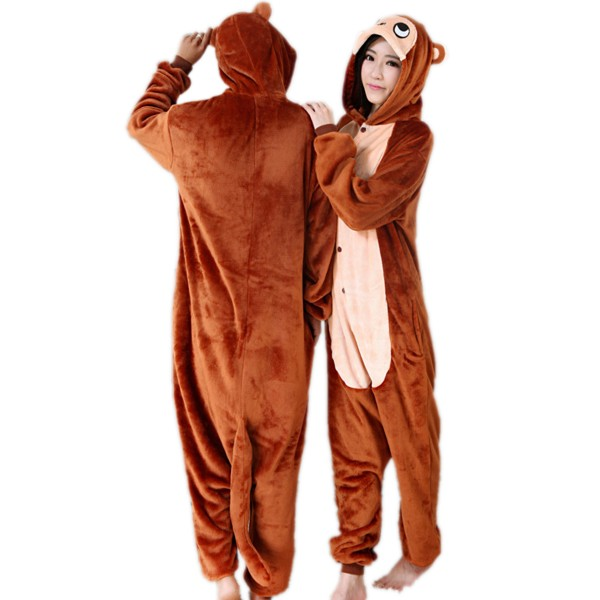 Brown Monkey Onesie Unisex Women & Men Animal Kigurumi Pajama Party Costumes