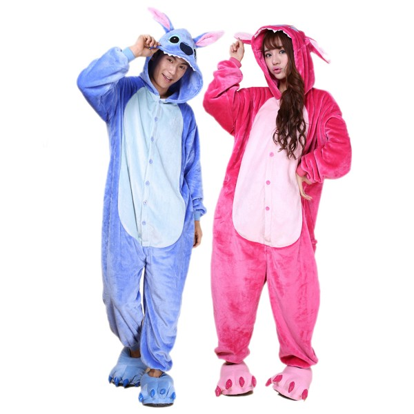 Stitch and Angel Onesie for Adult Kigurumi Pajama Disney Lilo & Stitch Halloween Costumes