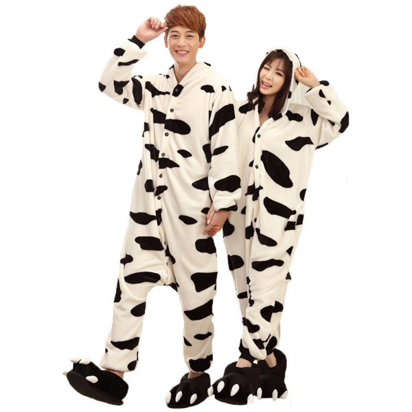 Cow Onesie Unisex Women & Men Animal Kigurumi Pajama Party Costumes