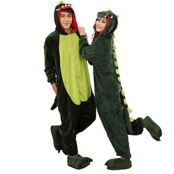 Green Dinosaur Onesie Unisex Women & Men Animal Kigurumi Pajama Party Costumes