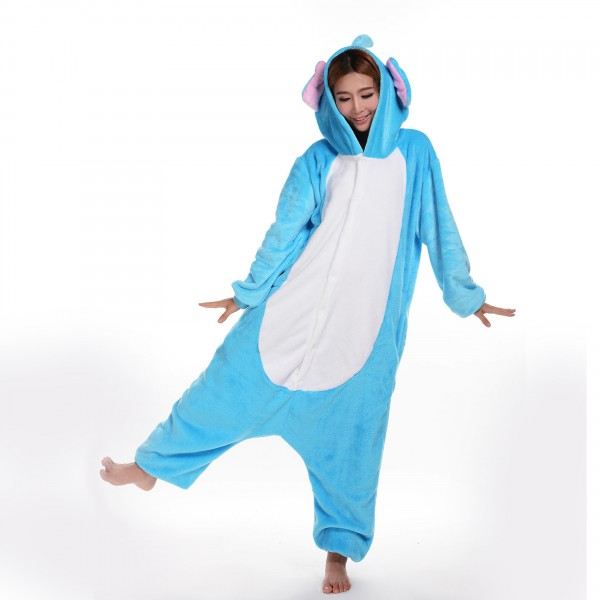 Blue Elephant Onesie Unisex Women & Men Animal Kigurumi Pajama Party Costumes