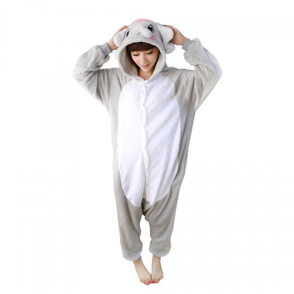 Gray Elephant Onesie Unisex Women & Men Animal Kigurumi Pajama Party Costumes