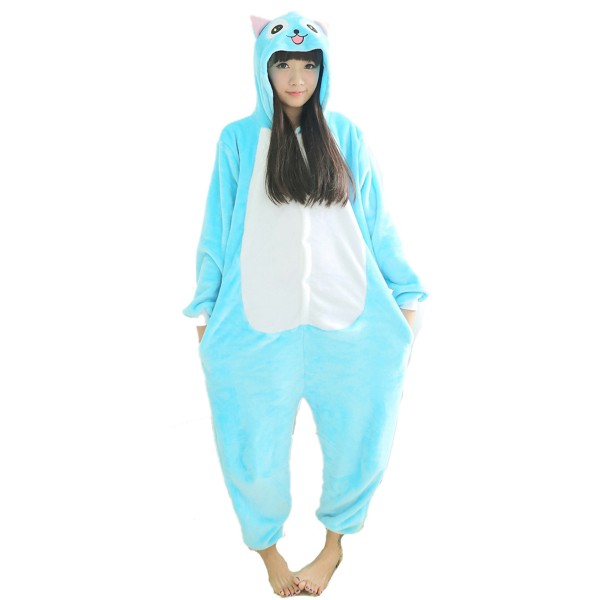 Blue Cat Onesie Unisex Women & Men Animal Kigurumi Pajama Party Costumes