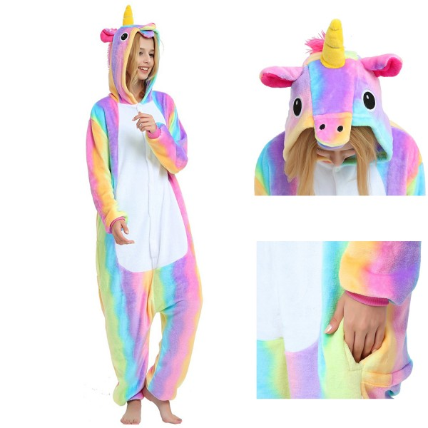 Rainbow Unicorn Onesie Unisex Women & Men Animal Pajamas Kigurumi Halloween Costumes
