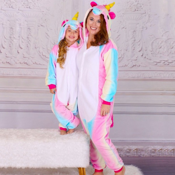 Mommy & Me Rainbow Unicorn Pajamas Family Onesies