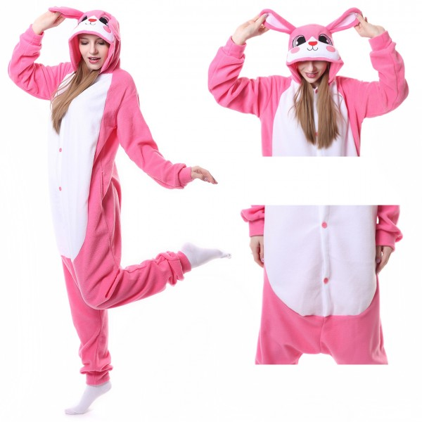 Pink Rabbit Onesie Unisex Women & Men Animal Kigurumi Pajama Halloween Costumes