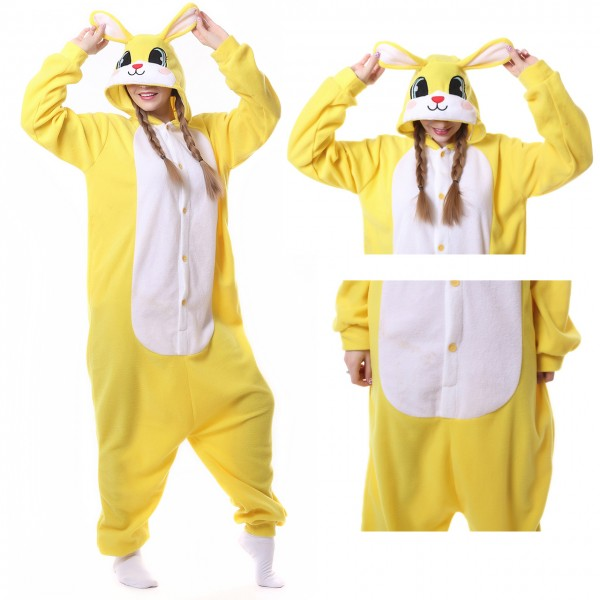 Yellow Rabbit Onesie Animal Kigurumi Pajama Women & Men Halloween Costumes