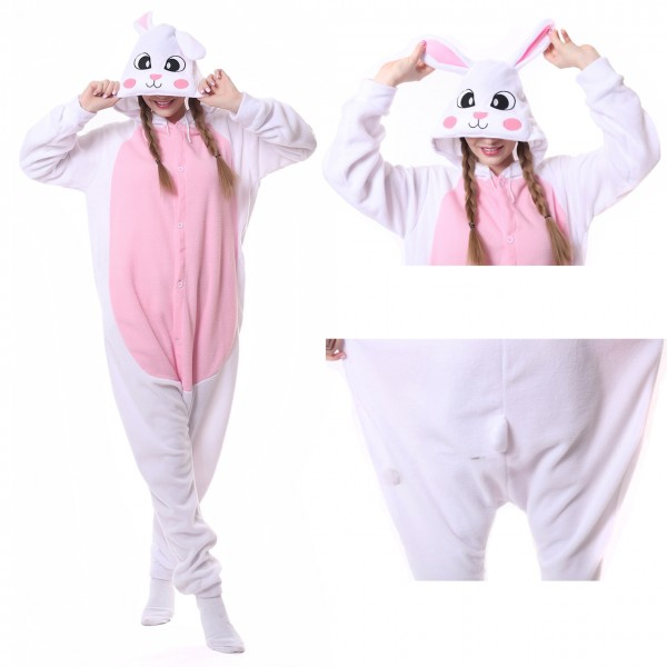 White Rabbit Onesie Animal Kigurumi Pajama Women & Men Carnival Party Costumes