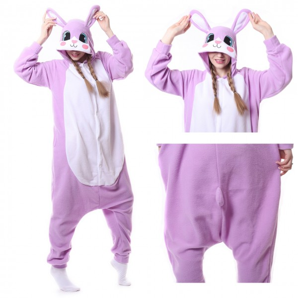 Purple Rabbit Onesie Animal Kigurumi Pajama Women & Men Masquerade Party Costumes