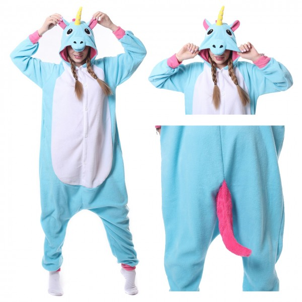 Blue Unicorn Onesie Women & Men Kigurumi Animal Party Costumes
