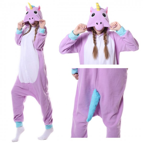 Purple Unicorn Onesie Women & Men Kigurumi Animal Pajama Party Costumes