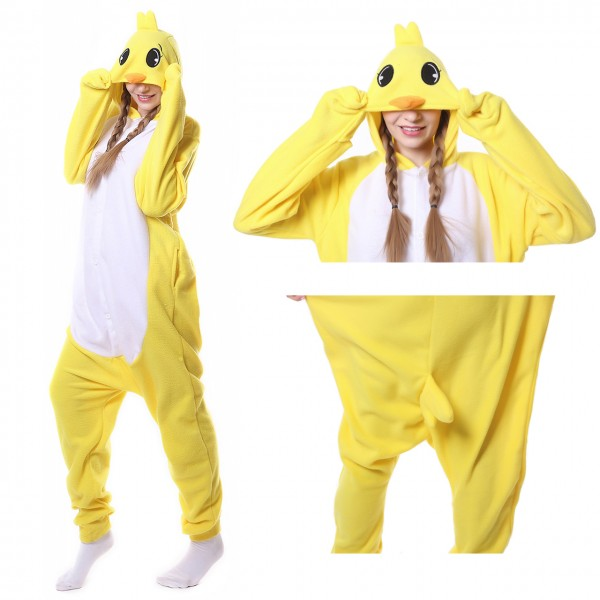 Yellow Chicken Onesie Animal Kigurumi Pajama Women & Men Halloween Costumes