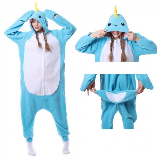 Narwhal Onesie Animal Kigurumi Pajama Women & Men Halloween Carnival Costumes
