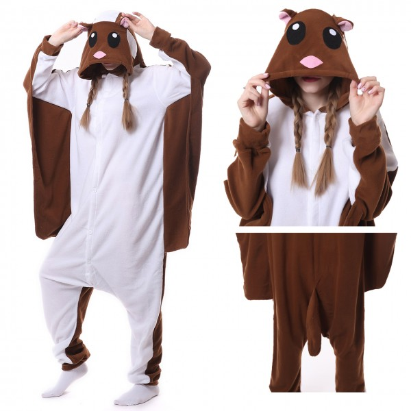 Flying Squirrel Onesie Kigurumi Pajama for Adult Halloween Costumes