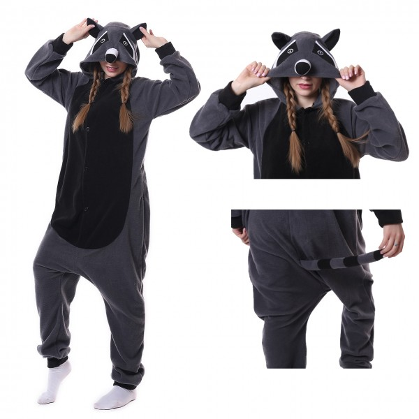 Grey Panda Raccoon Onesie Animal Kigurumi Pajama for Adult Party Carnival Costumes