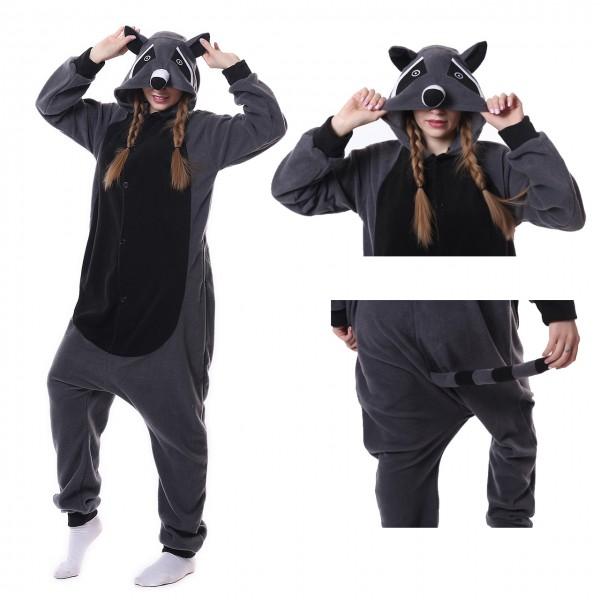 Grey Panda Raccoon Onesie Animal Kigurumi Pajama for Adult Party Carnival Costumes