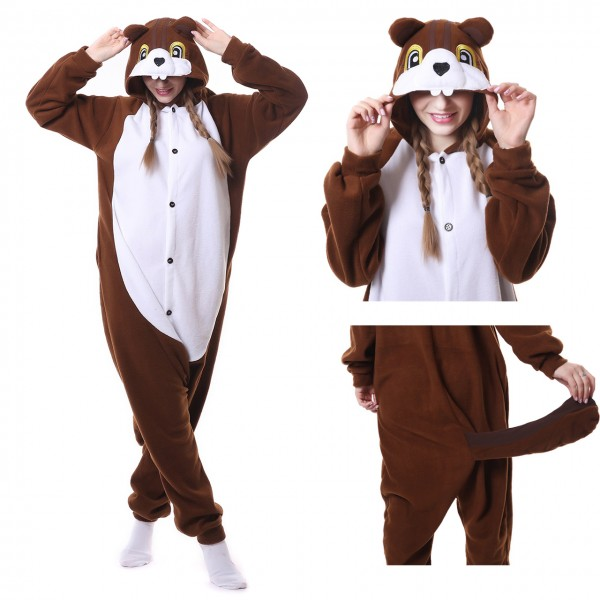 Chipmunks Onesie Animal Kigurumi Pajama Women & Men Halloween Costumes