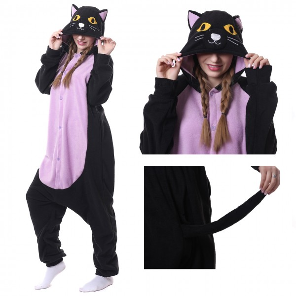 Midnight Cat Onesie Animal Kigurumi Pajama Women & Men Halloween Carnival Costumes