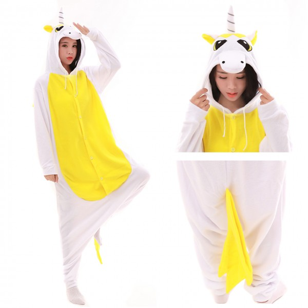 Yellow Pegasus Onesie Animal Kigurumi Pajama Women & Men Carnival Costumes
