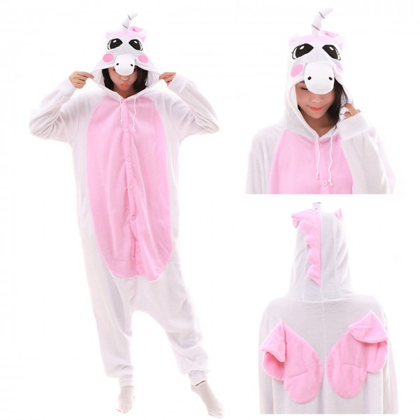 Pink Pegasus Onesie Animal Kigurumi Pajama Women & Men Halloween Costumes