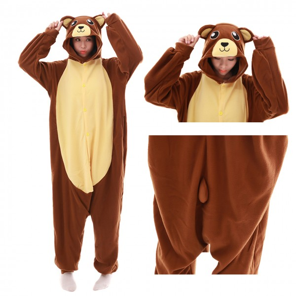 Brown Bear Onesie Animal Kigurumi Pajama Women & Men Halloween Costumes