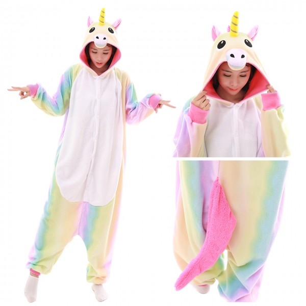 Pastel Hologram Rainbow Unicorn Onesie Unisex Women & Men Kigurumi Animal Pajama Party Costumes