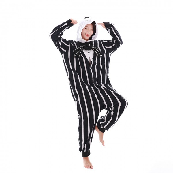 Jack Skellington Onesie Women & Men Kigurumi Pajama Halloween Carnival Costumes