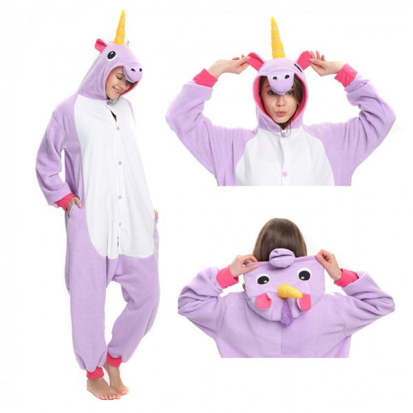 Purple Unicorn Onesie Kigurumi Animal Pajama for Adult Party Costumes