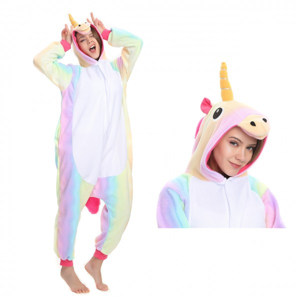 Rainbow Unicorn Onesie Animal Kigurumi Pajama Women & Men Halloween Costumes