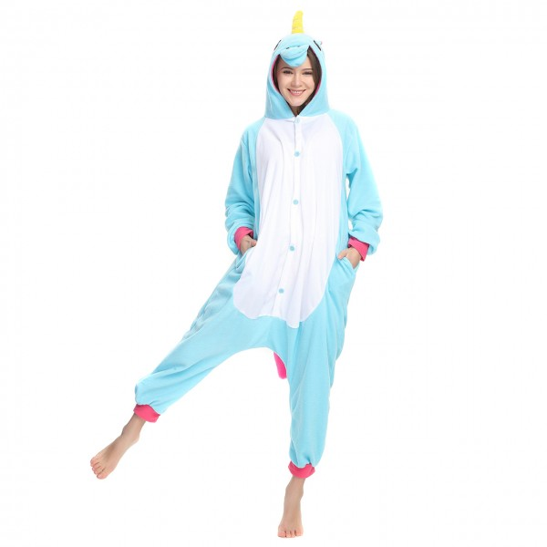 Blue Unicorn Onesie Kigurumi Pajamas Unisex Women & Men Animal Party Costumes