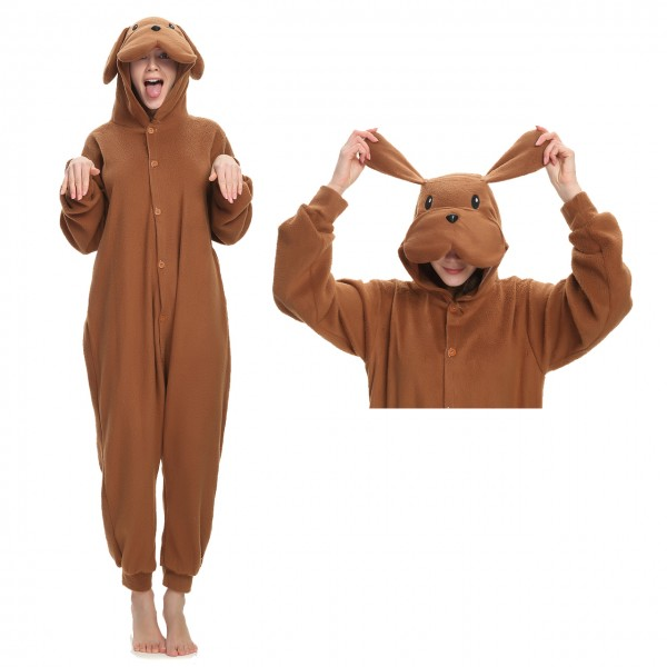 Brown Dog Onesie Animal Kigurumi Pajama Women & Men Halloween Carnival Costumes
