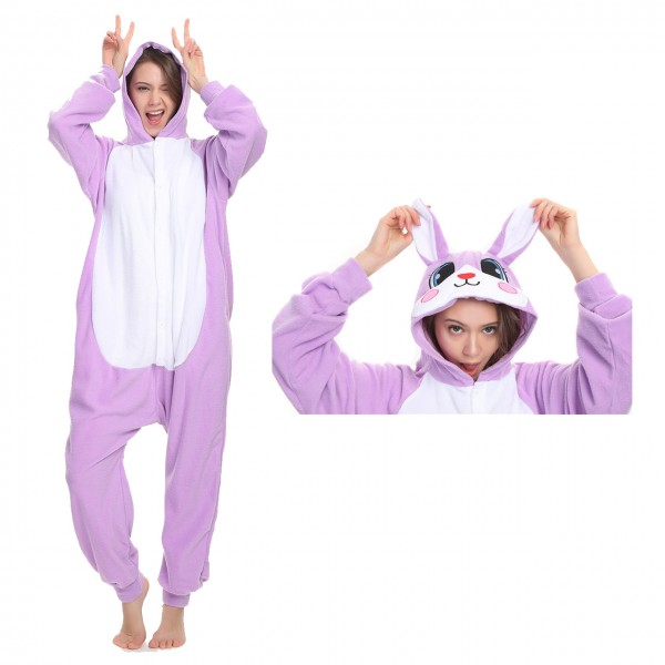 Purple Rabbit Onesie Animal Kigurumi Pajama for Adult Masquerade Party Costumes