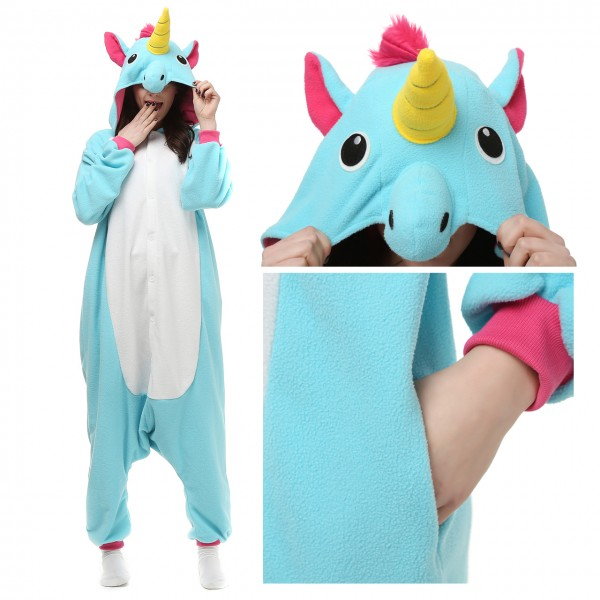 Blue Unicorn Onesie Women & Men Kigurumi Animal Halloween Costumes