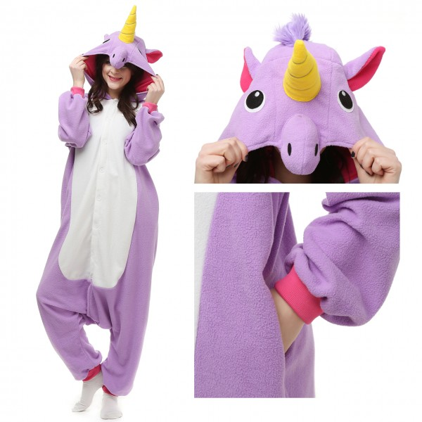 Purple Unicorn Onesie Unisex Women & Men Kigurumi Animal Halloween Costumes