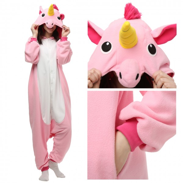 Pink Unicorn Onesie Unisex Women & Men Kigurumi Animal Halloween Costumes