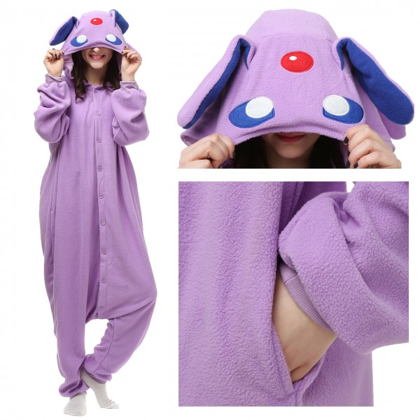 Espeon Pokemon Monster Onesie Animal Pajama Women & Men Halloween Kigurumi Costumes