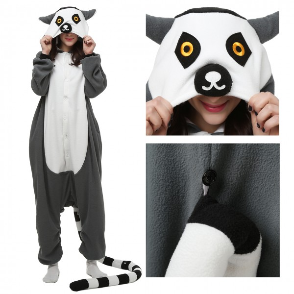 Lemur Onesie Animal Pajama Women & Men Halloween Kigurumi Costumes