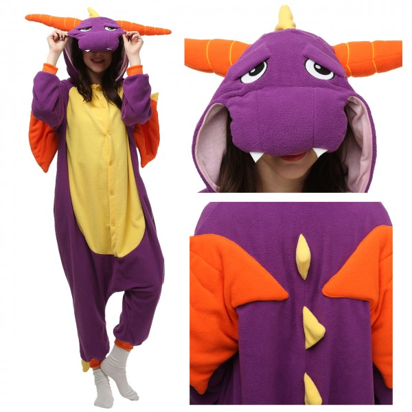 Purple Dragon Onesie for Adult Animal Pajamas Party Costumes