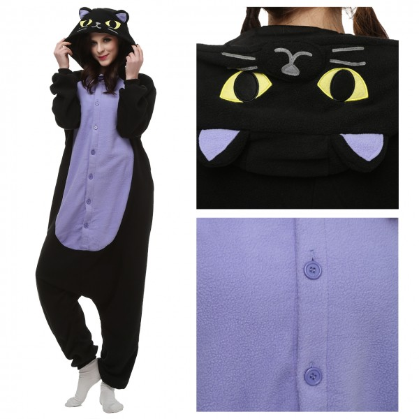 Midnight Cat Onesie Animal Kigurumi Pajama for Adult Halloween Carnival Costumes