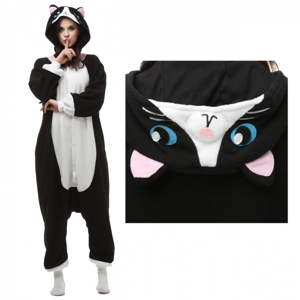 Black Cat Onesie Animal Pajama Unisex Women & Men Halloween Carnival Kigurumi Costumes
