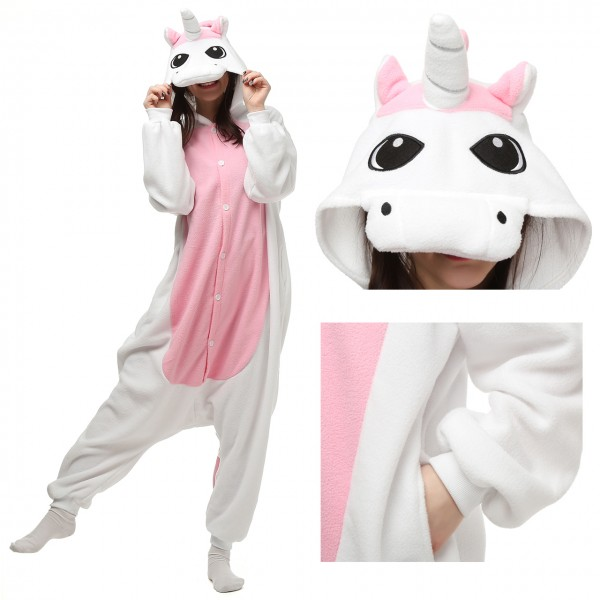Pink Pegasus Onesie Animal Kigurumi Pajama for Adult Halloween Costumes