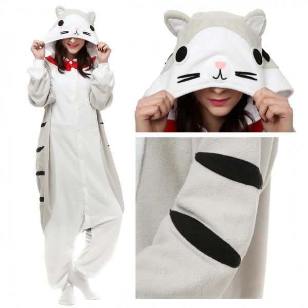 Tabby Cat Onesie Animal Pajamas Unisex Women & Men Halloween Costumes