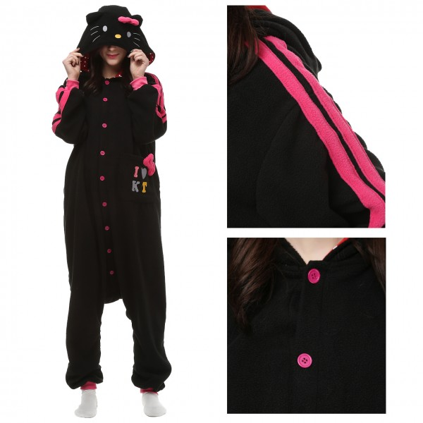 Black Hello Kitty Onesie Animal Pajamas for Adult Kigurumi Party Costumes