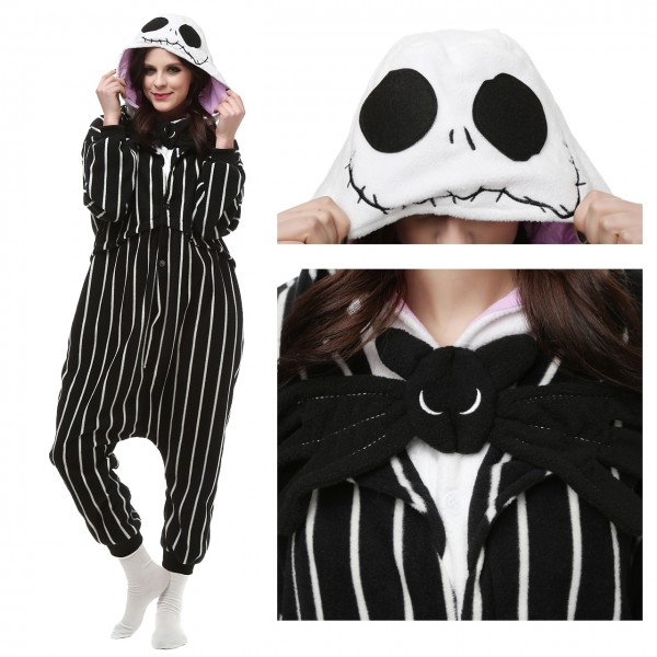 Jack Skellington Onesie Kigurumi Pajama for Adult Halloween Carnival Costumes