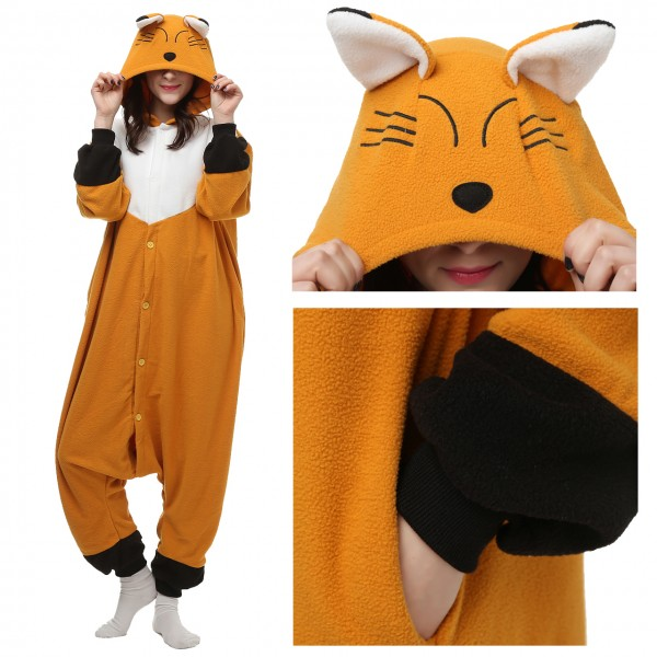 Japanese Red Fox Onesie Women & Men Animal Pajama Kigurumi Halloween Carnival Costumes