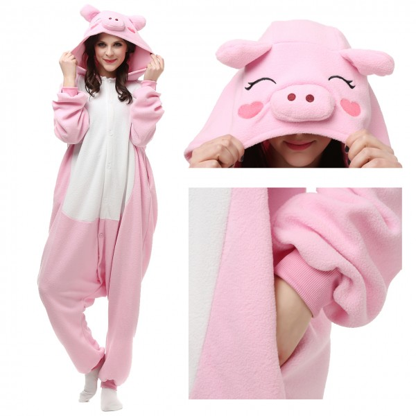 Pink Pig Onesie Unisex Women &Men Animal Pajama Kigurumi Party Costume